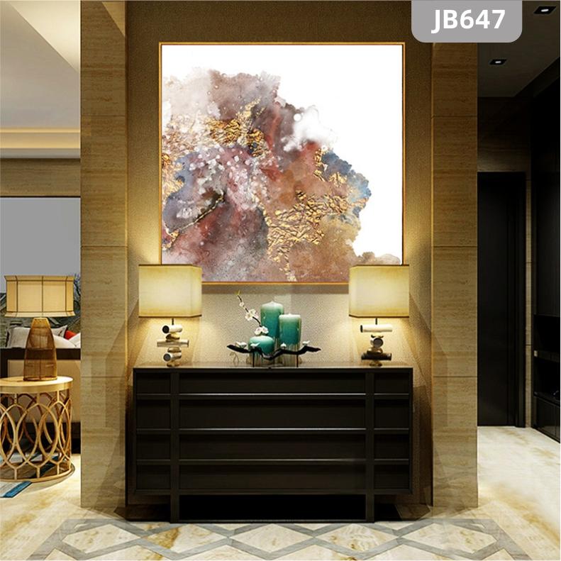 新中式抽象水墨色彩装饰画金色线条走廊竖版挂画客厅沙发背景墙挂画