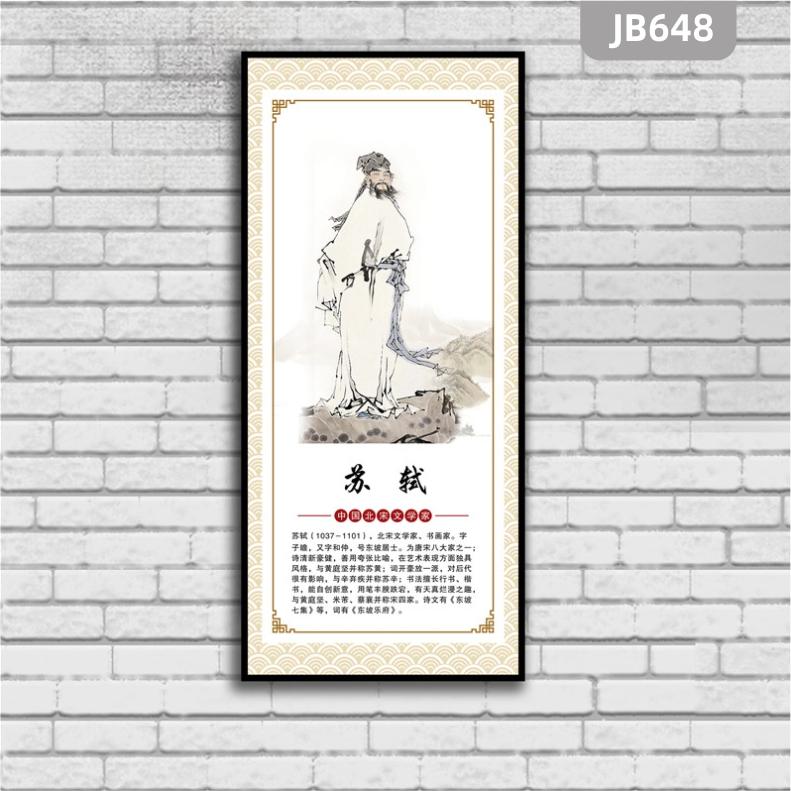 古代诗人简介苏轼装饰画办公室励志挂画学校教室班级走廊布置装饰画
