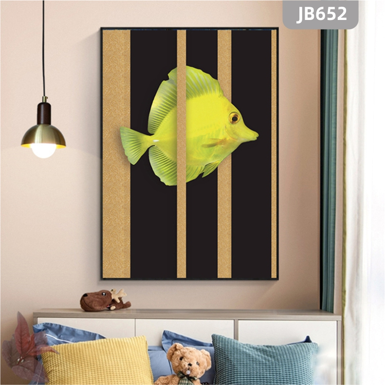 现代轻奢晶瓷晶钻画新中式走道玄关装饰挂画金鱼壁画客厅沙发背景墙挂画