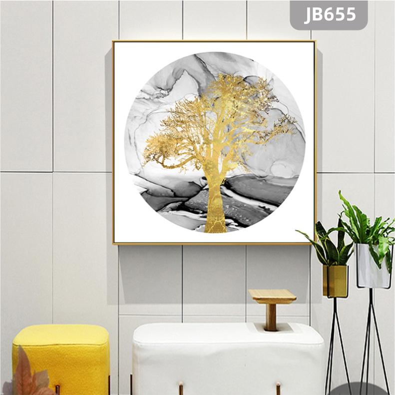 现代轻奢圆形装饰画抽象发财树玄关壁画新中式纯手绘油画餐厅挂画