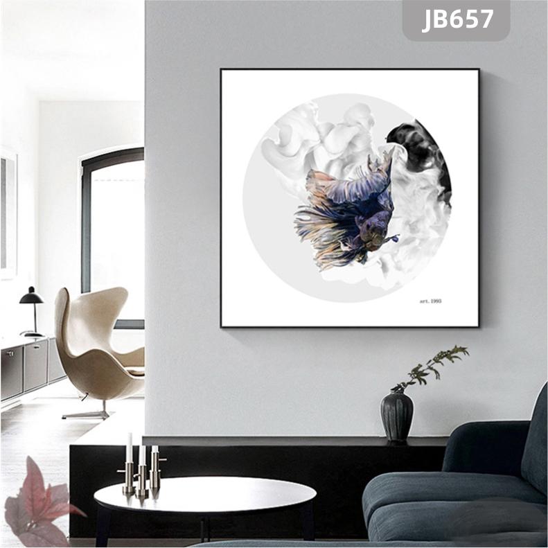 客厅装饰画现代简约沙发背景墙抽象挂画轻奢风正方形紫色色彩方形