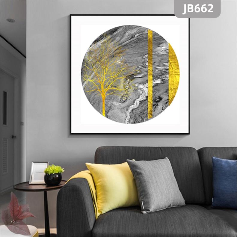 发财树新中式圆形壁画玄关大气过道装饰画轻奢玄幻走廊尽头客厅挂画