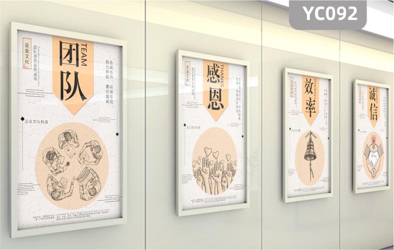 企业文化展板海报团队感恩效率诚信公司装饰画挂画素描手一群围坐人