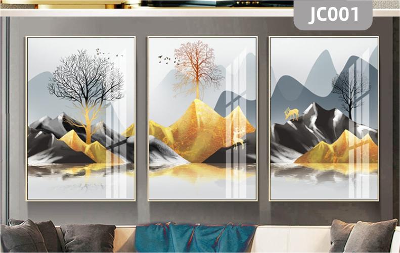 家居客厅现代简约手绘金色山水发财树新中式装饰画挂画沙发背景墙三联挂画