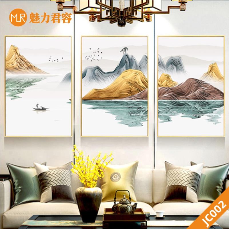 家居客厅现代简约新中抽象金色水墨山水风景装饰画挂画沙发背景墙挂画