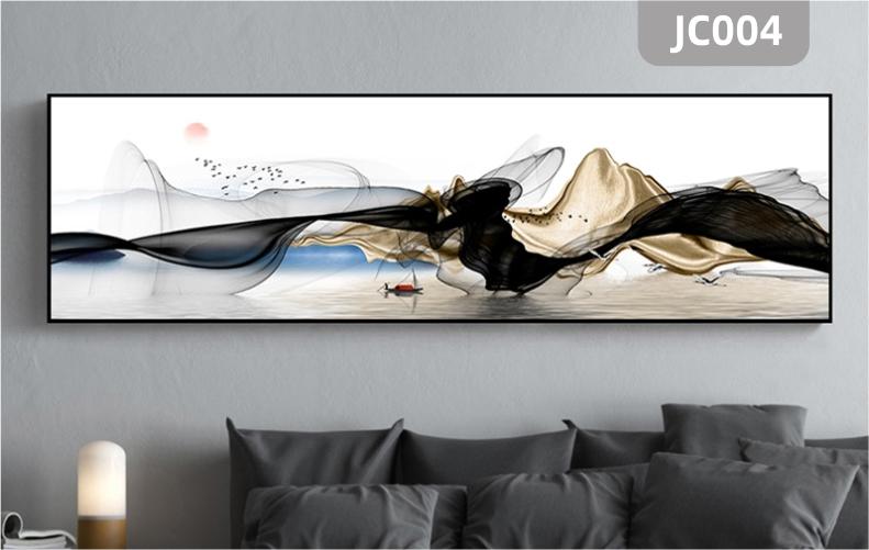 家居新中式抽象水墨金色山水风景横版装饰画客厅沙发背景墙装饰挂画