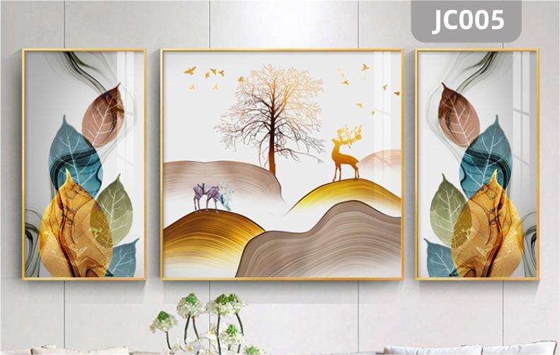 家居金色山水风景发财树叶子麋鹿现代简约客厅沙发背景墙三联挂画