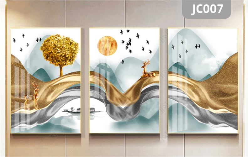 家居现代简约手绘金色山水发财树新中式客厅玄关装饰画沙发背景墙三联挂画