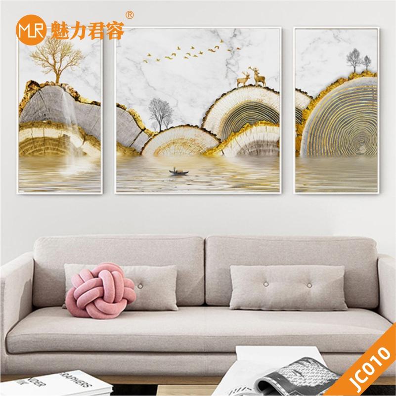 新中式抽象金色年轮山水麋鹿瀑布轻奢玄关客厅沙发背景墙三联挂画