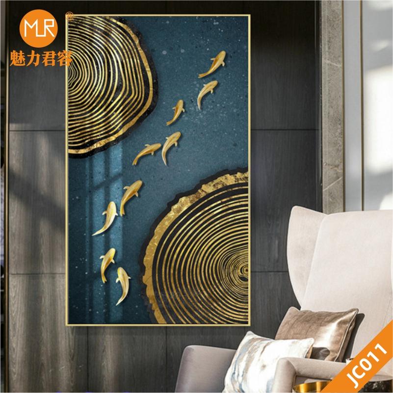 家居新中式抽象金色年轮线条九鱼图轻奢装饰画客厅玄关挂画沙发背景墙挂画