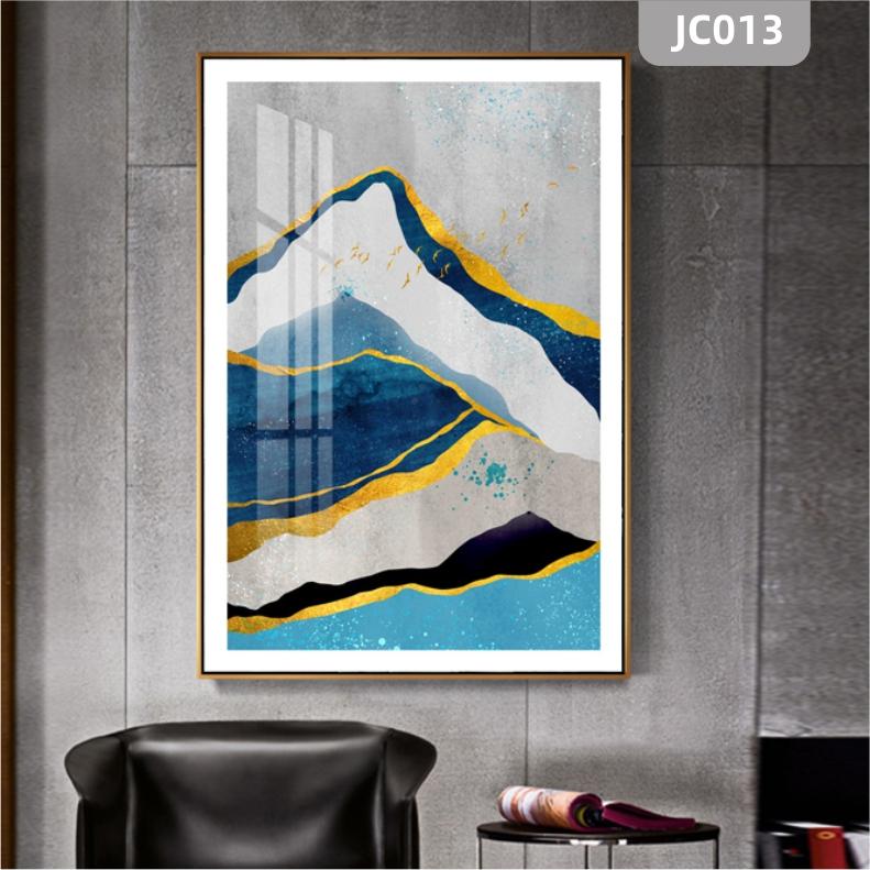 家居客厅玄关现代北欧抽象山脉金箔水晶肌理晶瓷画装饰画沙发挂画