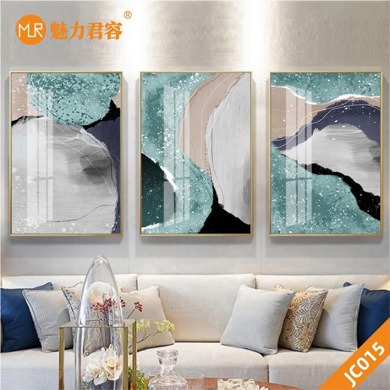 原创新中式现代轻奢手绘银杏叶抽象墨韵晶瓷客厅装饰画沙发背景墙三联挂画