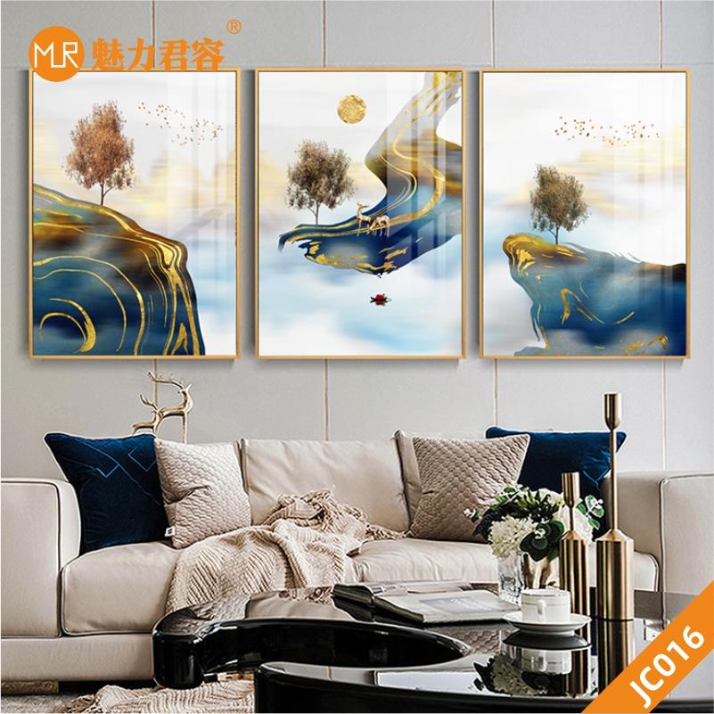 原创抽象轻奢山水三联装饰画新中式手绘客厅装饰画卧室床头挂画壁画