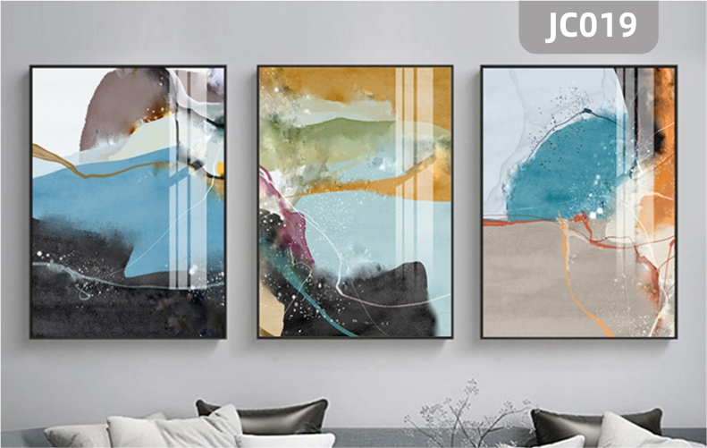 原创新中式现代手绘艺术抽象客厅北欧晶钻装饰画客厅沙发背景墙三联挂画