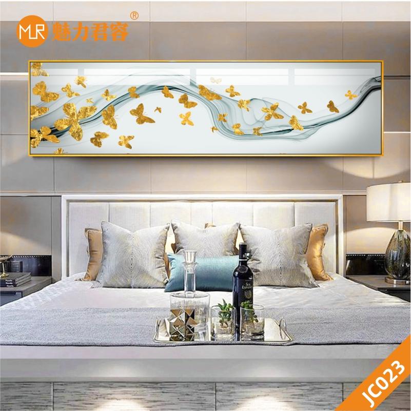 金色蝴蝶花鸟现代简约抽象水墨卧室床头装饰画客厅沙发背景墙挂画