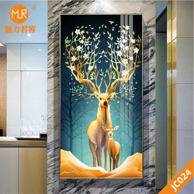 金色麋鹿山水新中式现代简约发财树玄关装饰画客厅沙发墙挂画晶瓷画