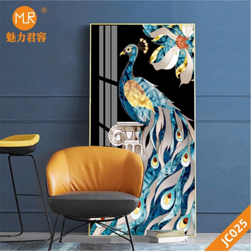 高档玄关装饰画走廊过道竖版新中式孔雀壁画晶瓷画客厅装饰画壁画