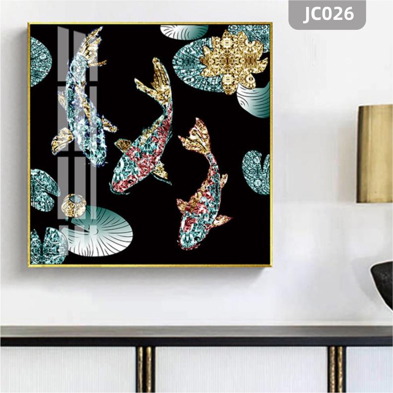现代珐琅彩高档荷花鲤鱼轻奢客厅玄关卧室床头装饰画年年有余晶瓷画