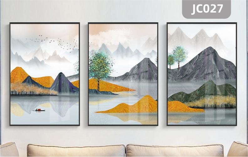 客厅装饰画现代简约沙发背景挂画山水风景小船轻奢墙画挂画三联壁画