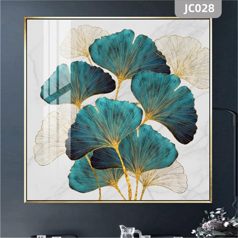 现代简约蓝色银杏叶壁画玄关过道装饰画北欧轻奢客厅餐厅卧室挂画