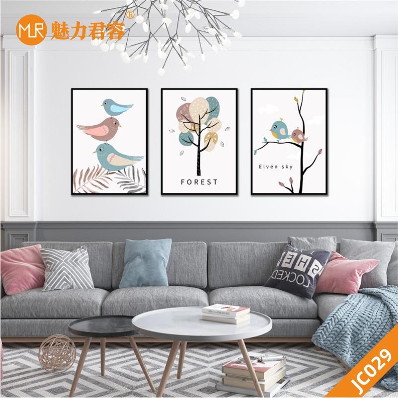 现代简约北欧式装饰画客厅背景墙挂画卧室餐厅小清新花鸟创意三联壁画