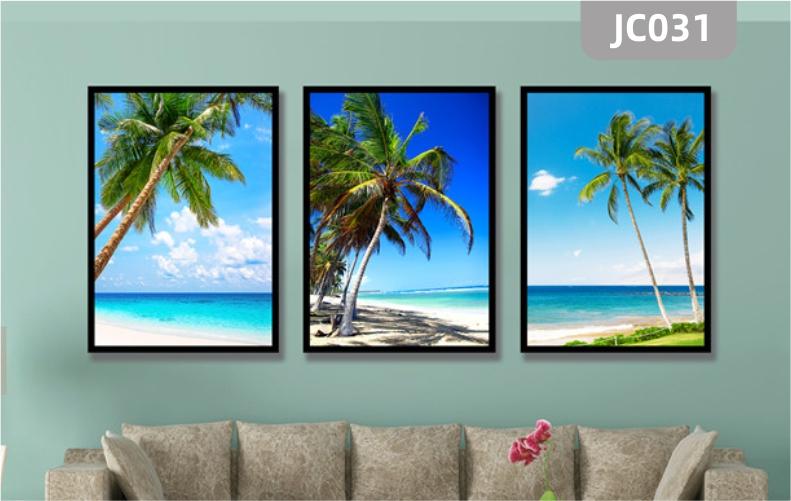 椰树沙滩海景海滩现代客厅装饰画酒店客房壁挂画餐厅无框画三联画