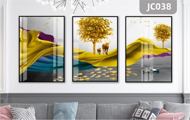新中式禅意抽象山水蓝色笔刷九鱼图装饰画客厅沙发背景墙三联挂画