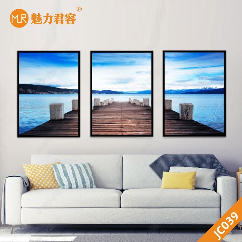 欧式风格木桥码头山水风景客厅装饰画沙发卧室床头背景墙三联挂画