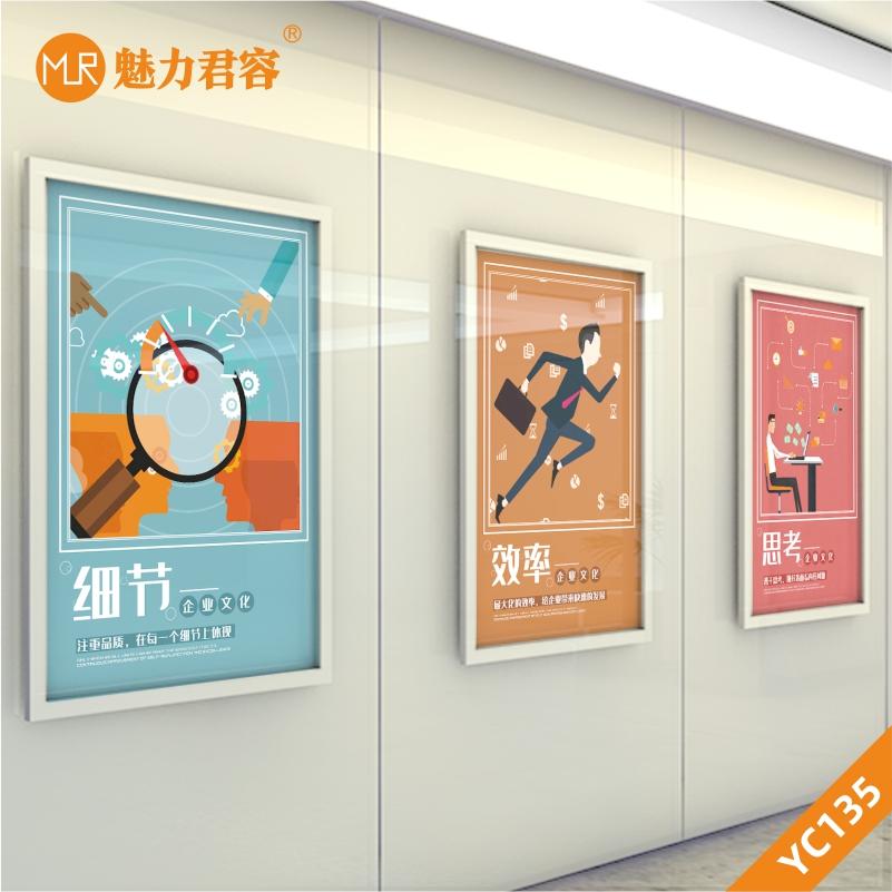卡通企业文化效率思考细节励志文化装饰画办公室会议室走廊布置挂画