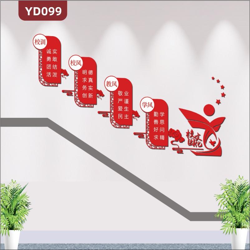 红色古典中国风校园楼梯文化墙校园文化墙装饰校风走廊学习文化贴纸