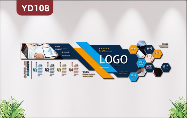 大气科技公司企业文化墙公司简介发展历程经理理念办公室形象墙贴