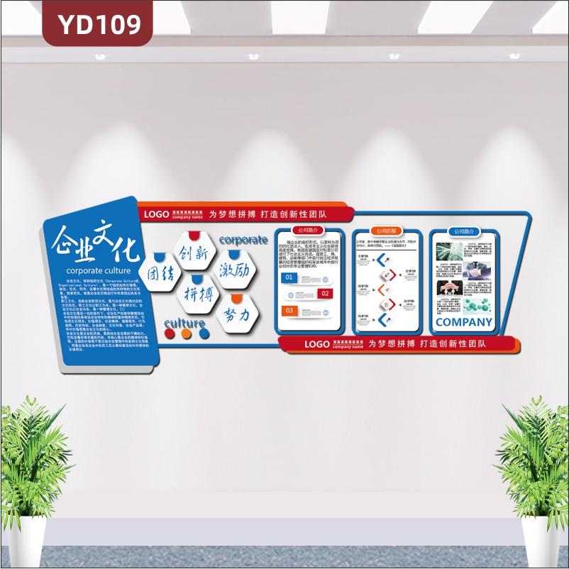 简约企业文化墙公司简介发展历程经营理念3D立体办公室形象布置墙贴
