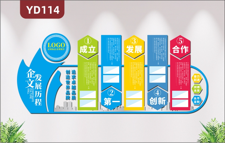 3D立体大气企业文化墙企业发展历程办公室装饰设计公司简介办公室形象墙贴