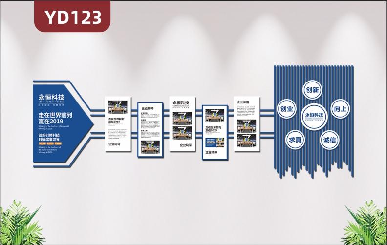 3D立体企业文化墙企业发展历程公司简介经营理念员工风采照片墙贴纸