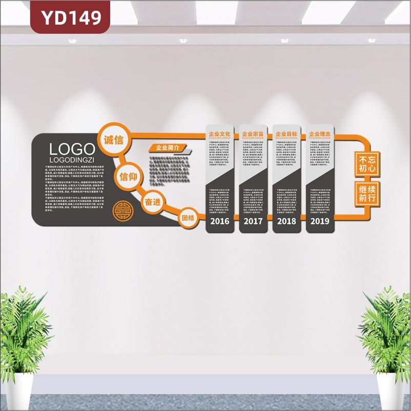 大型3D立体高档黑色商务企业文化墙企业简介发展历程经营理念文化展