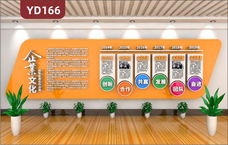 3D立体橙色商务企业文化墙企业文化发展历程公司简介办公室形象展求墙