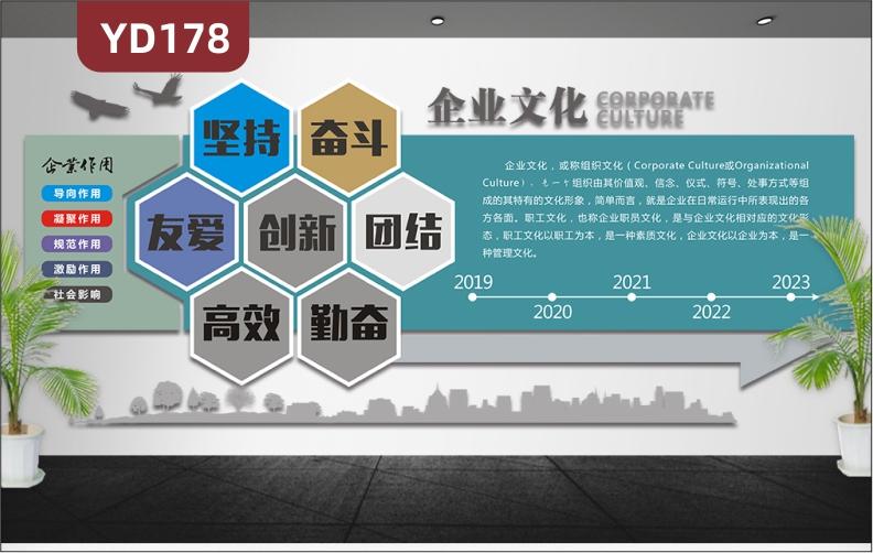 蓝色简约3D立体企业文化墙公司简介发展历程经营理念办公室形象墙装饰贴