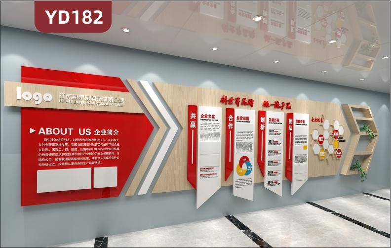 大气3D立体企业文化墙公司简介文化理念发展历程员工风采展示形象墙贴