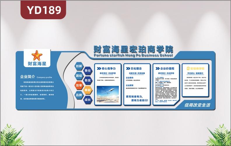 蓝色简约系企业文化墙公司简介文化理念核心价值观展板3D立体形象墙贴
