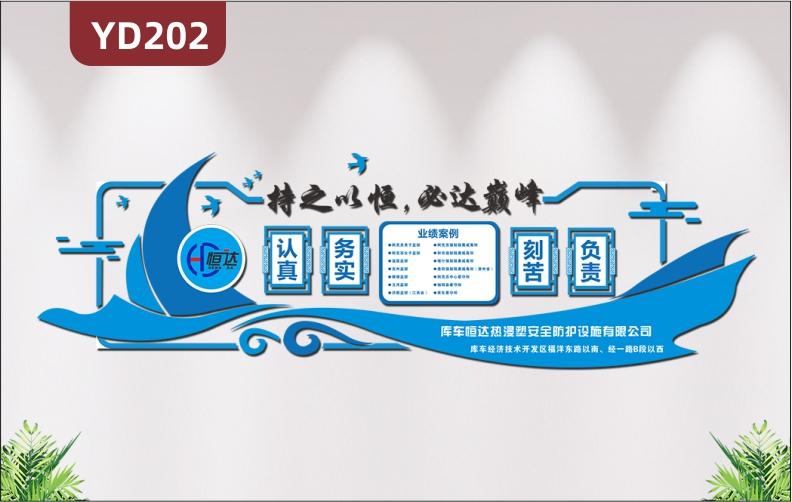 蓝色简约3d立体墙贴公司企业业绩案例帆船创意设计办公室装饰文化墙定制