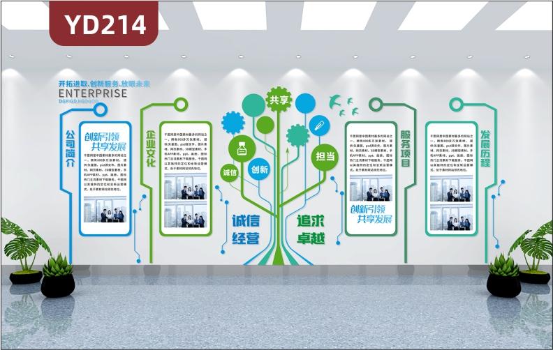 小清新科技树企业文化墙3D立体公司简介文化理念发展历程服务项目展板墙贴