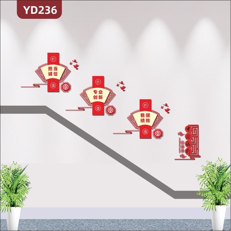 新中式中国银行文化墙企业服务特色扇形文化展板3D立体楼梯走廊文化墙