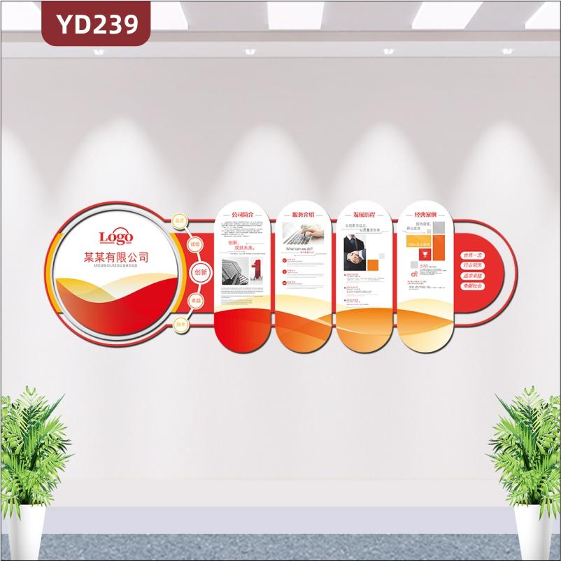 红色创意企业文化墙公司文化墙企业宣传栏公司简介发展历程3D立体雕刻展板