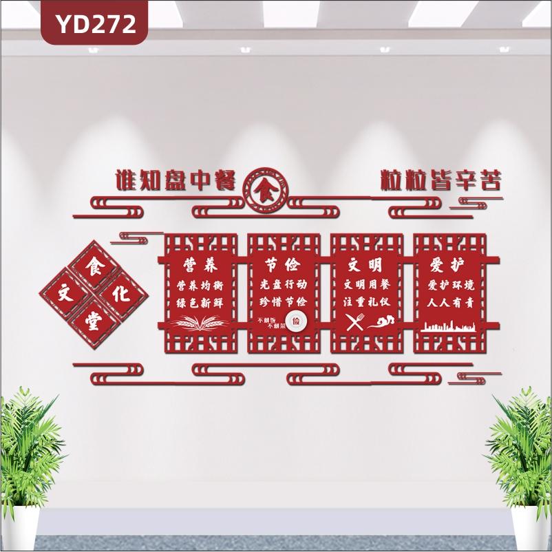 谁知盘中餐粒粒皆辛苦食堂节约粮食营养节俭古典文化墙3D立体食堂文化墙装饰