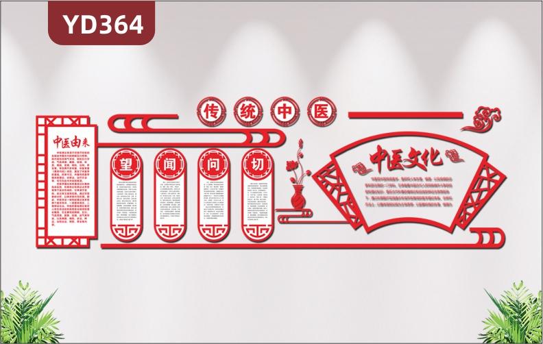中国风传统中医文化养生中药医院文化墙望闻问切文化展板3D立体布置墙贴