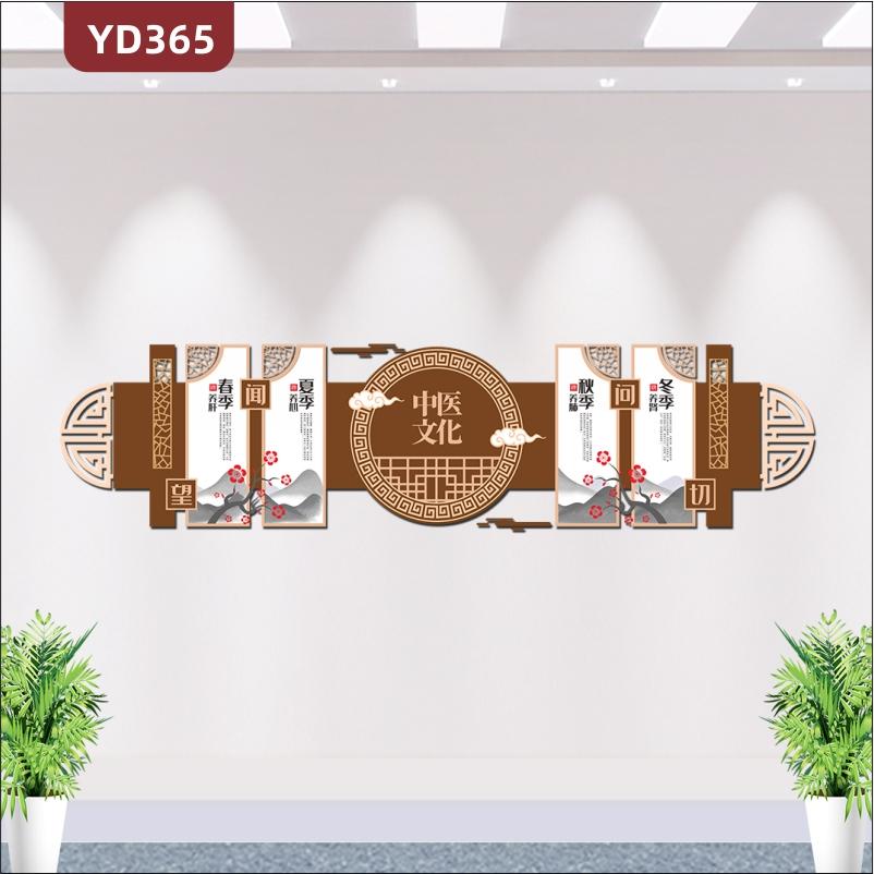新中式古典医院养生中医文化墙四季养生文化宣传栏展板3D立体设计