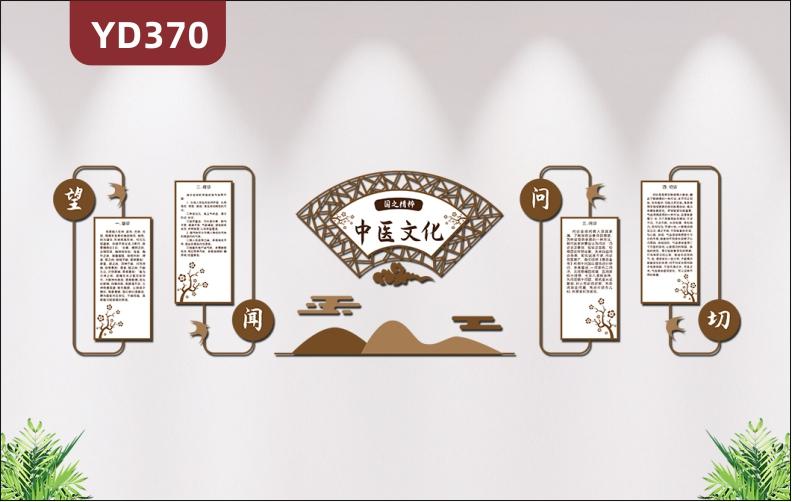 古典中国风中医文化墙养生文化望闻问切文化展板扇形3D立体雕刻墙贴