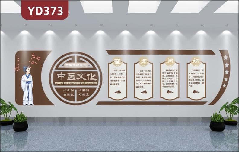 传统中国风中医文化墙望闻问切文化展板异形雕刻3D立体走廊装饰贴
