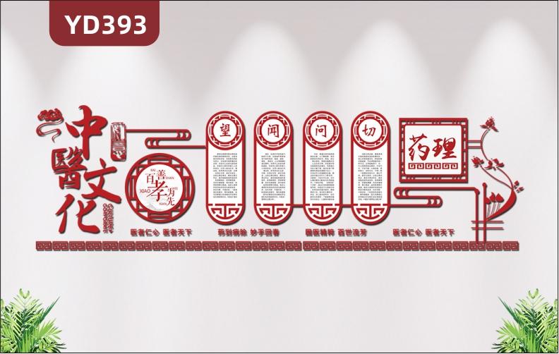 中医馆文化墙定制设计养生馆医院背景墙墙面装饰3d立体亚克力墙贴