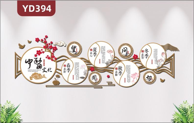 新中式中医文化墙养生馆文化展板春夏秋冬四季养生知识3D立体装饰展板